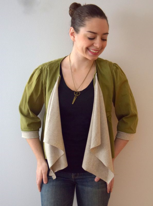 cropped jacket refashion- mini pip