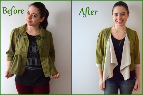 cropped jacket refashion- mini pip